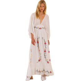 bohemian deep v maxi dress Australia - Best Bohemian# Boho Dress 2019 Floral Embroidery Button Ruffle Trim Deep V Neck White Women Summer Maxi Dress