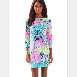 65386fd3ecc Lilly Pulitzer Robe Corail À Tricoter Fleurs Impression Chemises À Manches  3 4 Se Cultiver Soi-même Fesses Printemps Femmes Vêtements À La Maison  29wyt E1