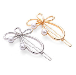 $enCountryForm.capitalKeyWord Australia - Cute Butterfly Pearls Hair Clip Clamps Girls  Ladies Dainty Gold Silver Plated Handmade Hair Pin Clamp