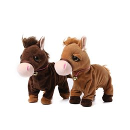 canvas horse backpacks UK - Drop Shipping ZuruPets Alive Electronic Horse Plush Toy Walking Horse Suffed Plush Toy Doll Interactive Horse Lama Animals Toys