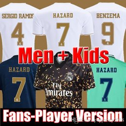 Chinese  FANS PLAYER VESION 19 20 HAZARD BENZEMA REAL MADRID soccer jersey 2019 2020 football shirt men kids kits sets ea top sports Long sleeve manufacturers