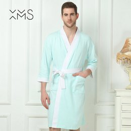 XMS 100% cotton bathrobes for men soft smooth breathable men s lovers robe  sleepwear home clothe summer Valentine s Day present 1288b6b26