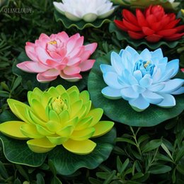 Flower artiFicial lotus Floating water online shopping - Retail Artificial fake CM Foam Lotus leaf Lily flowers Water Floating wedding Garden pond flowers waterproof decoration B12