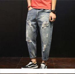 $enCountryForm.capitalKeyWord Australia - 19ss new fashion pants designer hot sell pants brand jeans hole tight hip hop street pants motorcycle Slim zipper trousers Large size 28-42