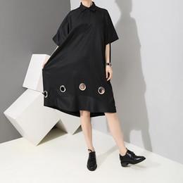 $enCountryForm.capitalKeyWord NZ - New 2019 Korean Style Women Summer Black Shirt Dress Metal Holes Short Sleeve Ladies Unique Wear Plus Size Loose Dress Robe F339