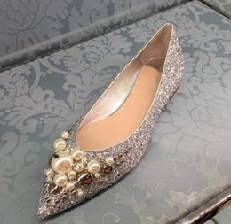 Bling Party Decorations Australia - 2019 Bling Sequined Cloth Silver Women Flats Pointed Toe Slip-on Pearls & Rivets Decoration Party Wedding Flat Shoes Lady
