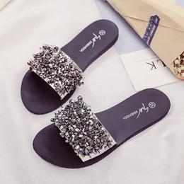 $enCountryForm.capitalKeyWord Canada - Silver Rhinestone Slippers Women Slides Summer Beach Fashion 2018 Sandals Rivet Casual Flats Ladies Shoes Sandals Shiny