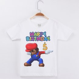 Children White Tees Australia - Hot Sale Best Selling Birthday Numeral Boys T-shirt Mario Print Cotton Kids Clothes Boy Tops Children Clothing Party Tee Shirts J190427