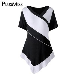 $enCountryForm.capitalKeyWord Australia - Plusmiss Plus Size 5xl 4xl White And Black Patchwork Casual T-shirt Women Clothing Big Size Summer 2018 T Shirt Ladies Tops Tee J190427