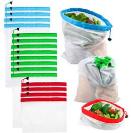 Eco Friendly Toys Australia - 12pcs set S M L Reusable Mesh Produce Bags Washable Eco Friendly Bags for Grocery Shopping Storage Fruit Vegetable Toys Sundries dc144