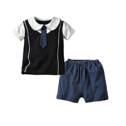 $enCountryForm.capitalKeyWord UK - New children's suit boys' school wind fake two-piece tie cotton short-sleeved polo shirt knit striped shorts suit