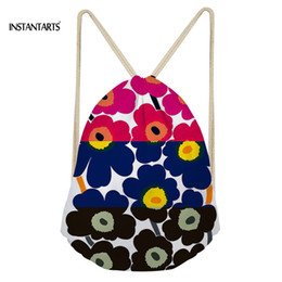 pink poppies flowers 2019 - INSTANTARTS Colorful Poppy Flower Pattern Drawstring Bags Drawstring Backpack Women Men Small Beach String Shoulder Bag