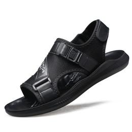 Discount size 44 sandals - Men Black Sandals Summer Casual Shoes Natural Materials Rubber Sole Beach Sandals Easy Wear Hombre Size 39-44