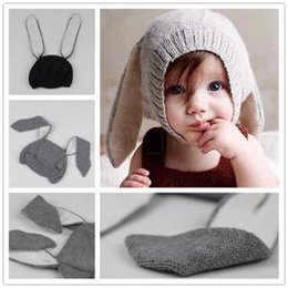 Knit infant hats online shopping - Baby Rabbit Ear cap Kids Beanies Infant Warm Knitted plush Hats warmer Winter crochet Photography Props Hat AAA1611