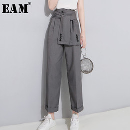 $enCountryForm.capitalKeyWord Australia - [eam] 2019 Spring High Waist Lace Up Black Slim Temperament Tide Trend Fashion New Women's Wild Casual Wide Leg Pants La462 MX190717