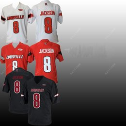 7650cfdd4 Men NCAA jersey Customized Louisville Cardinals 8 Lamar Jackson black red  white Cheap sewing embroidery American College Football jerseys