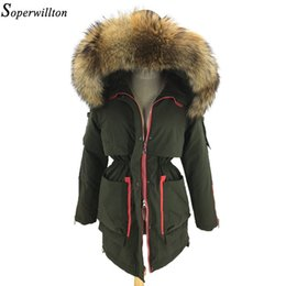 Discount large raccoon fur - Winter Parka Women Army Green Jacket Female Black Coat 100% Real Natural Large Raccoon Fur Collar Hooded 2018 Fashion Wa
