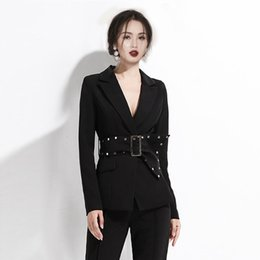 office trouser for women 2020 - Suits For Women Ladies Office Work Blazer Jacket With Belt Pencil Pants Trousers Black Elegant 2 Piece Set cheap office
