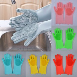 silicone dogs Canada - Magic Cleaning Gloves Silicone Non-slip Dishwashing Gloves Kitchen Bathroom Tools Pet Dog Care Grooming Free DHL WX9-1177