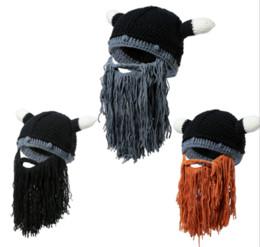 fb6a0d8826186 hot sale Men s Barbarian Vagabond Viking Beard Beanie Horn Hats Handmade  Winter Warm Birthday Cool Gifts Funny Gag Halloween CaP
