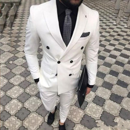 purple business suit Australia - Slim Fit White Men Suits Wedding Groom Wear Tuxedos 2 Pieces Bridegroom Suits Best Man Prom Business Wear Blazer