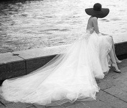 $enCountryForm.capitalKeyWord Australia - Beach Wedding Dresses with 3D Floral SpaghettiTiered Skirt Backless Plus Size custom made Elegant Garden Country Toddler Wedding Gowns H081