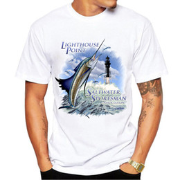 $enCountryForm.capitalKeyWord NZ - Saltwater t shirt Lighthouse point fishing short sleeve tees Sportsman fish tops Fadeless print clothing Pure color colorfast modal tshirt