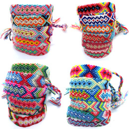 $enCountryForm.capitalKeyWord Australia - Bohemian Nepal Ethnic handmade Bracelets For Women rainbow printing Braided String Rope Wrap Bangle Lucky Friendship Boho Jewelry in Bulk