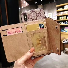 Discount acrylic holder phone - High Quality Top Brand Designer Wallet Phone Case PU Leather Card Holder Cover for iPhone X XS XR Xs Max 7plus 8plus 6pl
