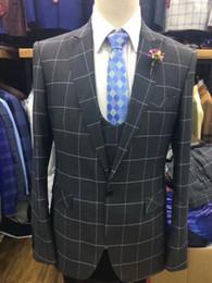 Ternos Slim Fit Suit Australia - 2019 new fashion plaid Men Suit Slim Fit 3 Pieces Tuxedo Groom Groomsman men suits for wedding ternos para hombre kingsman blazer sets