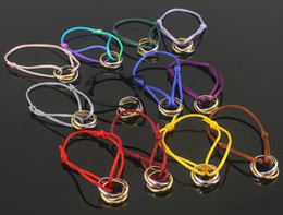 titanium bracelets Australia - Europe and the United States three-ring three-color hand rope bracelet titanium steel three-ring red rope bracelet multi-color selection
