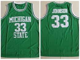 30d60d9589e NCAA Magic 33 Johnson College Green Embroidered Basketball Jersey S-XXL