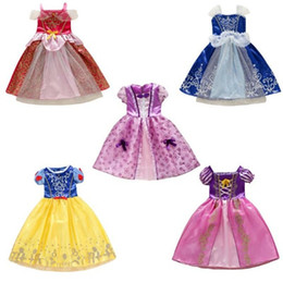 China DHL 9 styles Baby girl halloween cosplay dress Sleeping Beauty Cinderella long hair princess costume skirts kids X'mas party dresses M177 cheap cinderella brand girls dresses suppliers