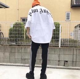 $enCountryForm.capitalKeyWord Australia - 2019 Best Fashion Palm Angels Oversize T Shirt Hip Hop Solid Color Palm Angels Big Letter Printing Top Tees Black Cotton T-Shirt