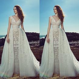 beaded wedding dresses detachable skirt 2019 - Stylish zuhair murad sheath mermaid wedding dresses detachable overskirt Bling beaded handmade flowers bridal gowns v ne