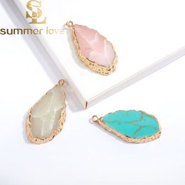 Nature Charms Australia - New Arrival 5mmx40mm Nature Stone Waterdrop Pendant For Necklace Bracelet Pink White Green Turquoise Charm Diy Jewelry Making Accessory
