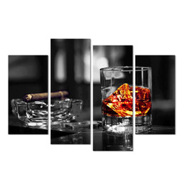 Unframed Canvas Prints Australia - Unframed Whisky and Cigar Picture Canvas Prints Bar Decor Black and White Cool Art
