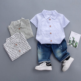 baby boy korean style clothing Canada - 2019 baby clothing kids clothes Infant Boys New summer children's suit English alphabet Korean woven shirt Children's short sleeve two-piece