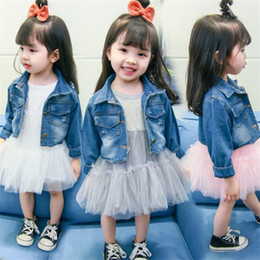Discount korean kid white dress - Newborn Baby Girls Clothing Sets Fashion Korean Long-sleeved Mesh Stitching Dress Denim Jacket Kids Tracksuit Toddler Gi