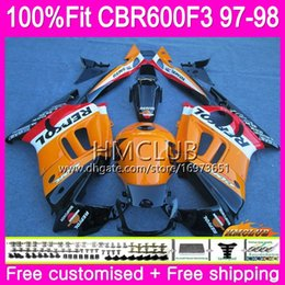 1998 cbr f3 fairings NZ - Injection For HONDA CBR600RR CBR600FS CBR 600 F3 97 98 78HM.2 CBR600 F3 FS CBR 600F3 CBR600F3 1997 1998 OEM 100%Fit Repsol orange Fairing