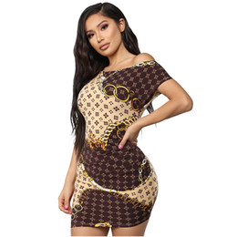 sexy hip chains NZ - dress Europe and America Women's clothing Hip skirt fashion Sexy Oblique collar Gold chain printing dress new style