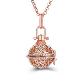 $enCountryForm.capitalKeyWord Australia - 3 Color Rhinestone Locket Necklace Cage Pendant Pregnancy Baby Chime Choker Diffuser Necklaces Torque Pendant