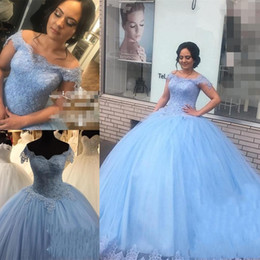 1b3f1b209cf Ocean Blue Lace Sweet 16 Quinceanera Dresses Ball Gown Off Shoulder Beaded  Puffy Tulle Masquerade vestidos 15 anos Birthday Prom Dresses