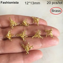 12 Connectors Australia - 20 pcs 3D Trumpet Shape Jewelry Connectors With 5 Loop,12*13mm Raw Brass Casting Crafts,DIY Accessories