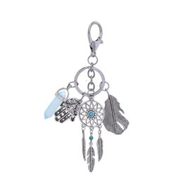 China Bohemian Dream Catcher Key Buckle Palm Metal Feather Silver Keys Ring Restoring Ancient Ways Fashion Small Parts New 7bzD1 cheap european ancient rings suppliers