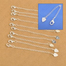 Lobster Extension Chain Australia - Wholesale Jewelry Findings 925 Sterling Silver Extension Tail Chains With Heart Tag Lobster Clasps For Necklace Bracelets
