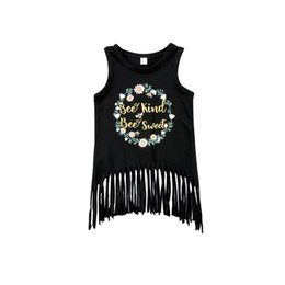 $enCountryForm.capitalKeyWord Australia - 2018 Casual Fashion Baby Kids Girls Toddler Letter Flower Print Tassel Tops Sleeveless Black T-shirt Shirt Outfit Summer 1-6Y