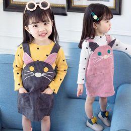 $enCountryForm.capitalKeyWord Australia - Toddler Baby Girl Outfit Long Sleeve White Romper +Cartoon Cat Strap Skirt Tutu Skirts Outfits Set