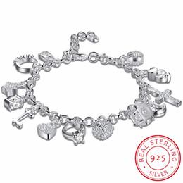 $enCountryForm.capitalKeyWord Australia - 925 sterling silver 13 charms Cross Lock Key Heart Star Moon Flower Zircon bracelet bangle women's fine jewelry Accessories