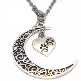$enCountryForm.capitalKeyWord Australia - Filigree Crescent Moon Heart Dog Paw Print Necklace Pendant Vintage Silver Collares Chain Statement Necklaces For Women Jewelry Craft Gift